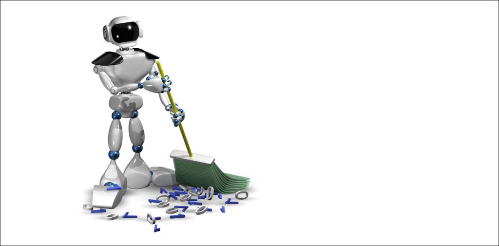 Robot sweeping binary characters data cleansing